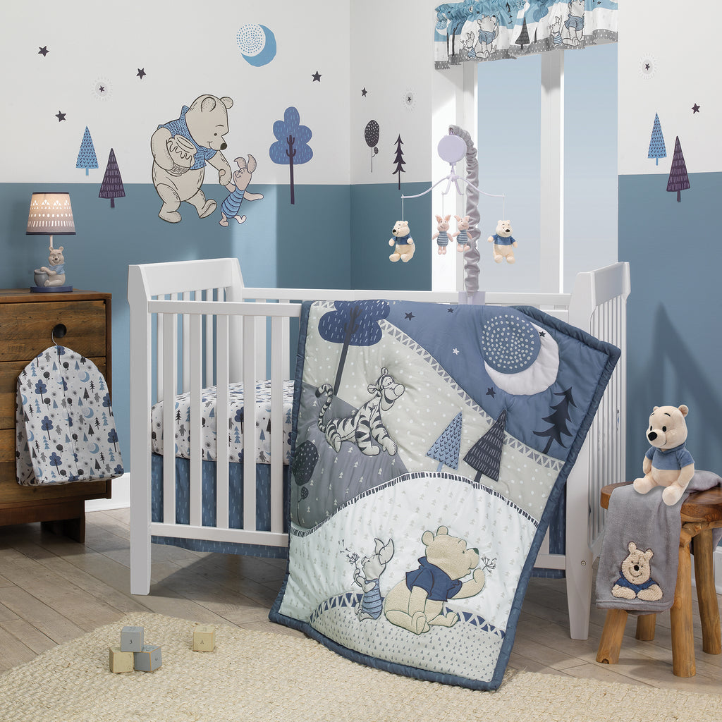 Disney Baby Forever Pooh Blue Gray Bear 3 Piece Baby Crib Bedding Set