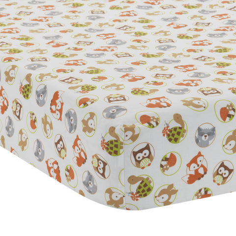 Friendly Forest Fitted Crib Sheet - Lambs & Ivy