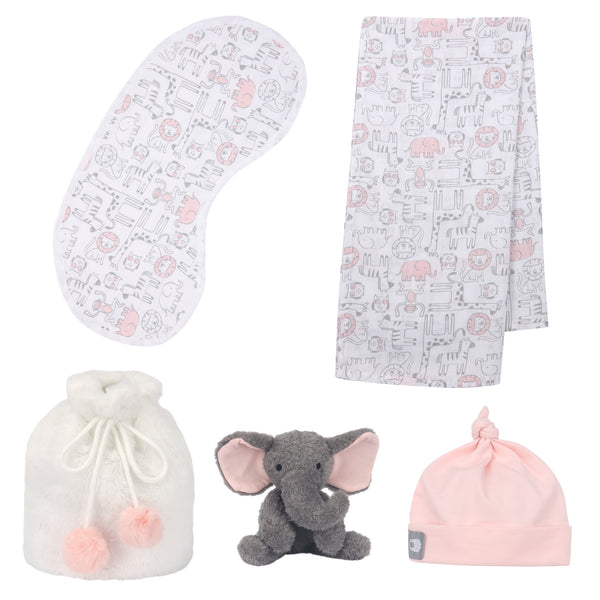 5 Piece Pink/Gray Baby Gift Set by Lambs & Ivy
