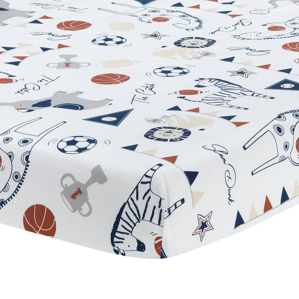 Hall of Fame Cotton Fitted Crib Sheet by Lambs & Ivy