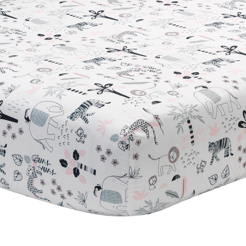 Happy Jungle Fitted Crib Sheet by Lambs & Ivy