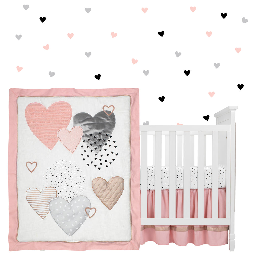 LOVELY 16 PCS NURSERY BEDDING SET  HEARTS  FOR COT OR COTB