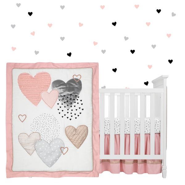 Heart to Heart 4-Piece Crib Bedding Set by Lambs & Ivy