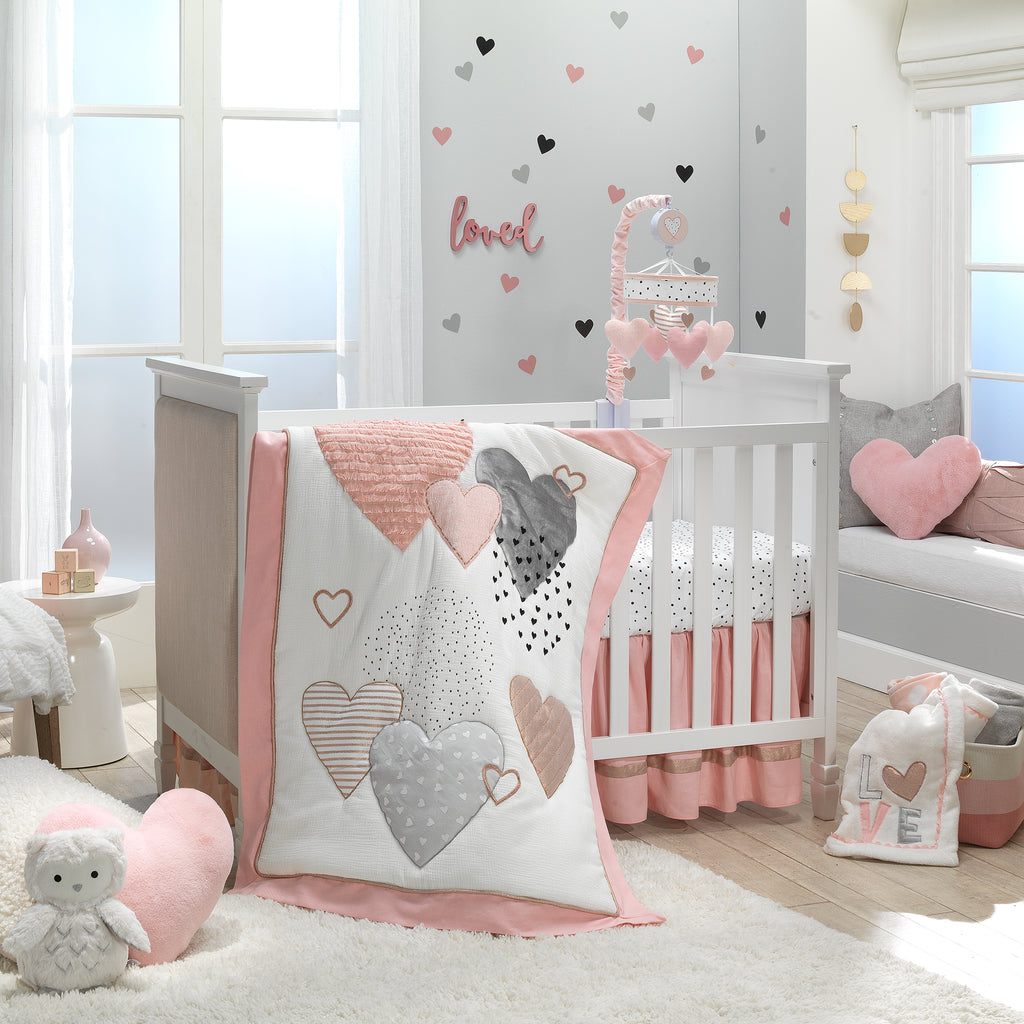 Signature Heart To Heart Pink Grey White 4 Piece Baby Crib Bedding Set