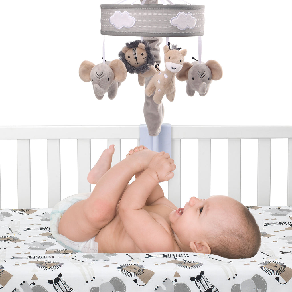 Animals Lambs /& Ivy Me /& Mama Musical Baby Crib Mobile White Safari Gray