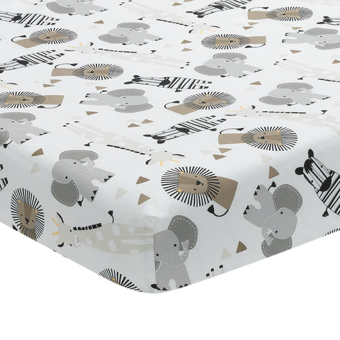 Jungle Safari Cotton Fitted Crib Sheet by Lambs & Ivy