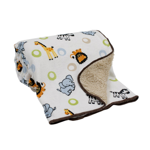Jungle Buddies Sherpa Blanket by Bedtime Originals