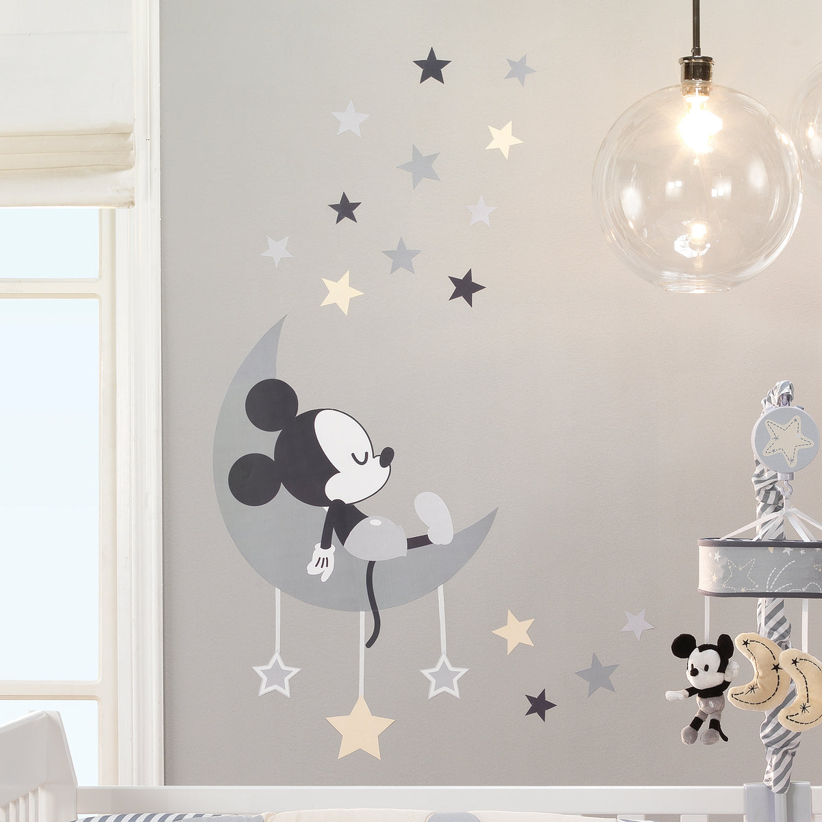 Disney Baby Mickey Mouse Gray Yellow Celestial Wall Decals