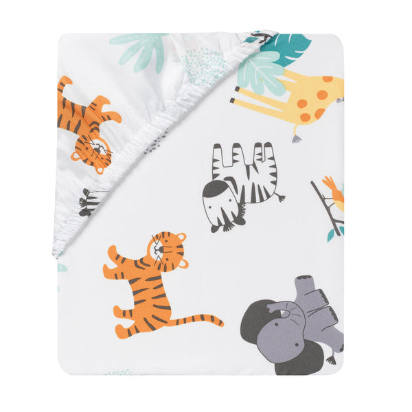 Mighty Jungle Fitted Crib Sheet by Bedtime Originals
