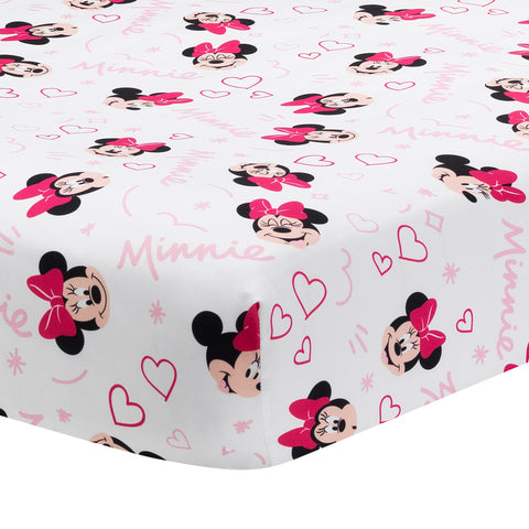 Minnie Mouse Love Fitted Crib Sheet by Lambs & Ivy