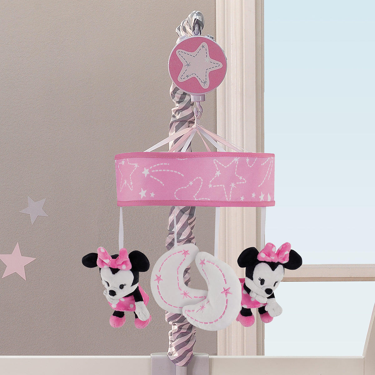 Disney Baby Minnie Mouse Pink Gray Musical Crib Mobile