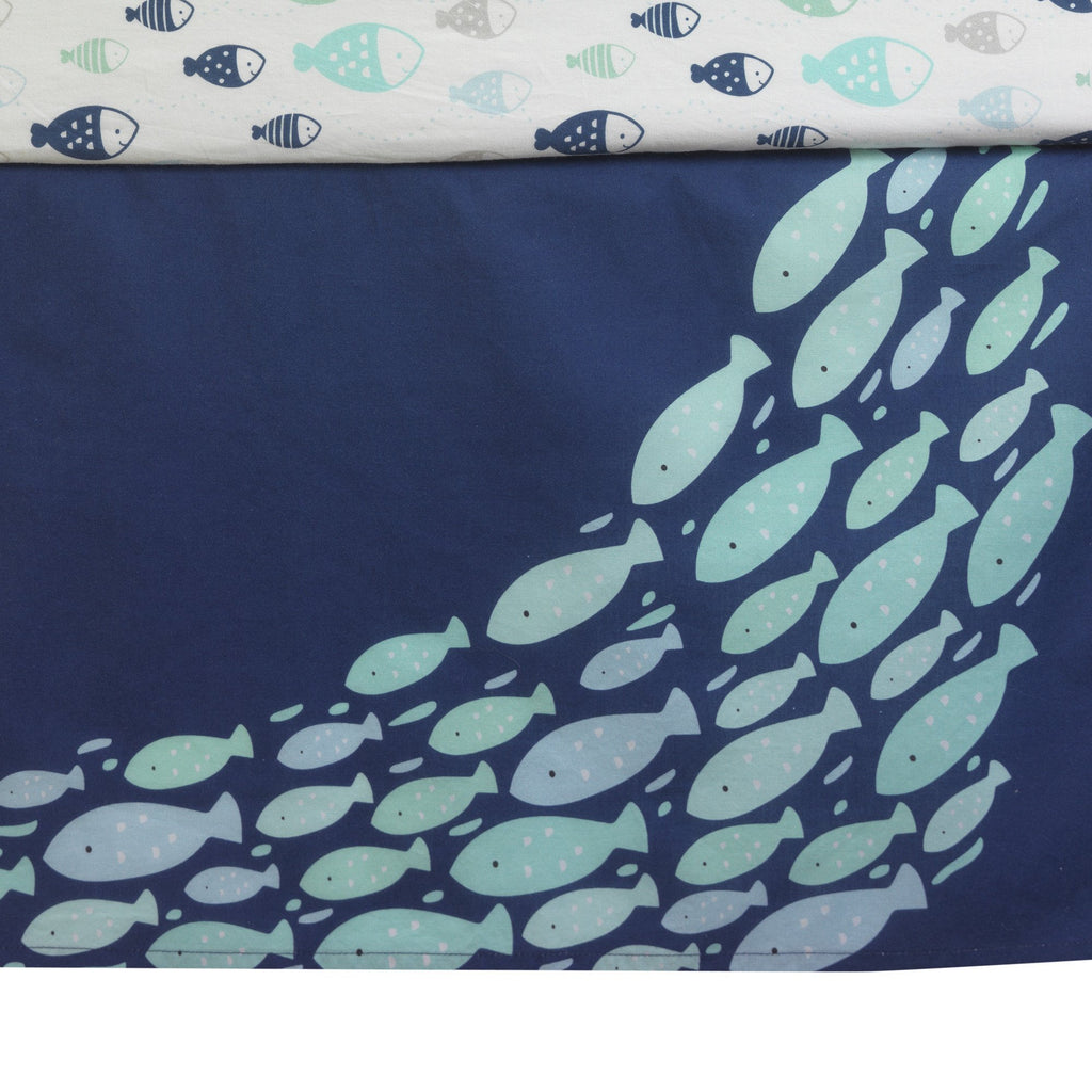Oceania Blue Gray White Whale With Octopus And Fish Nautical Ocean