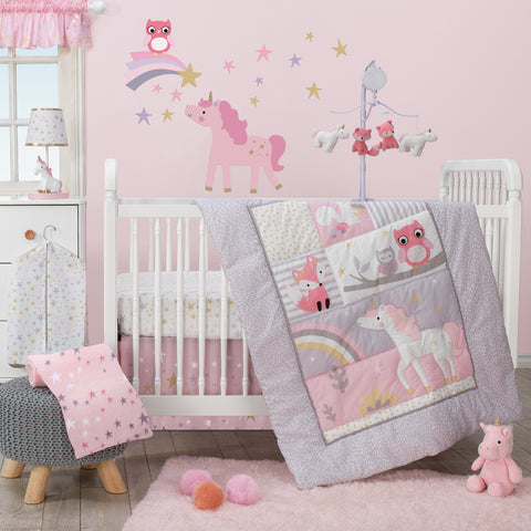 Rainbow Unicorn 3-Piece Crib Bedding Set by Bedtime Originals