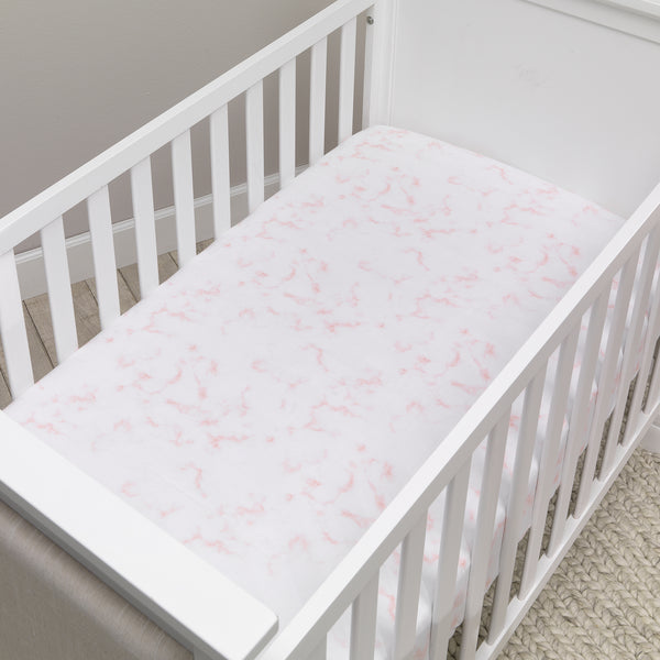 Signature Rose Marble Organic Cotton Fitted Crib Sheet by Lambs & Ivy
