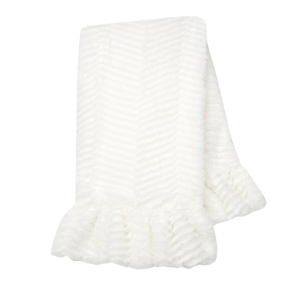 Signature Ruffled Lux Chevron Baby Blanket by Lambs & Ivy