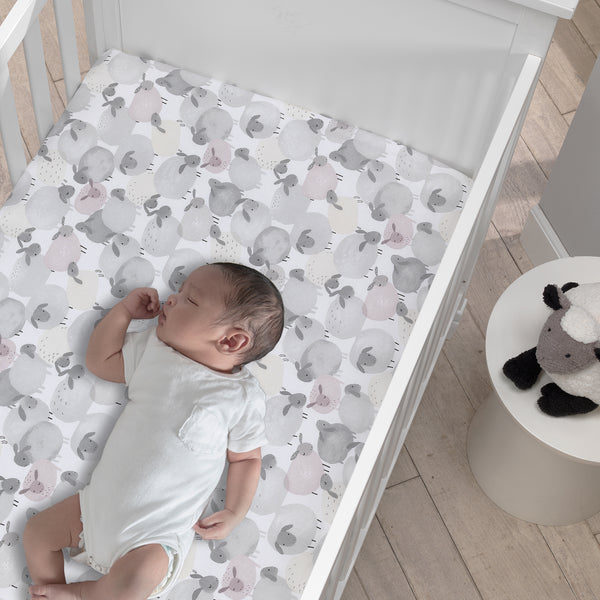 Sleepy Sheep Cotton Fitted Crib Sheet by Lambs & Ivy