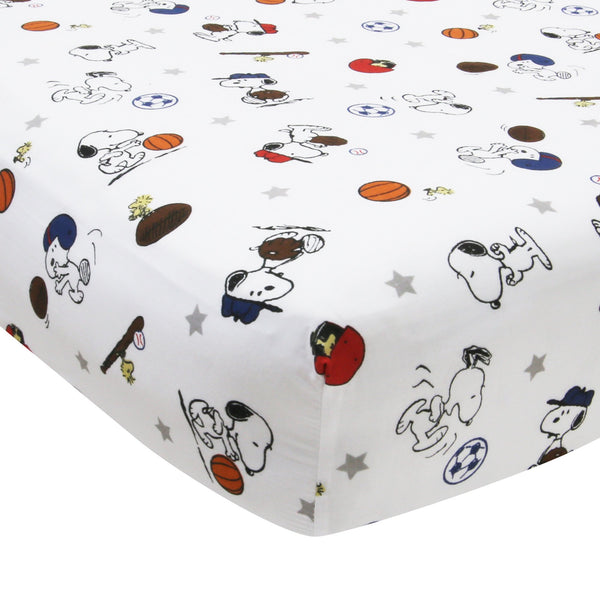 Snoopy™ Sports Fitted Crib Sheet by Bedtime Originals