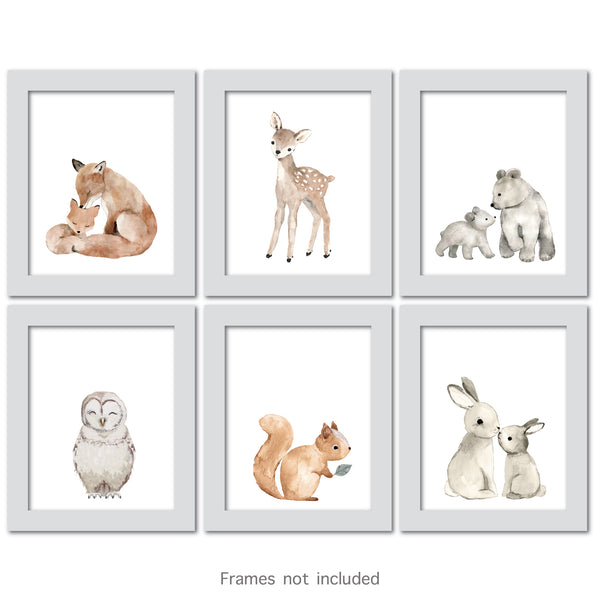 Watercolor Woodland Animals Unframed Wall Art by Lambs & Ivy