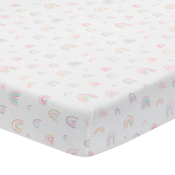 Watercolor Pastel Rainbow Cotton Fitted Crib Sheet by Lambs & Ivy