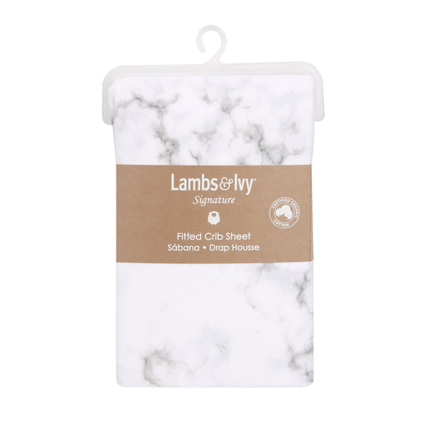 Signature Gray Marble Organic Cotton Fitted Crib Sheet by Lambs & Ivy