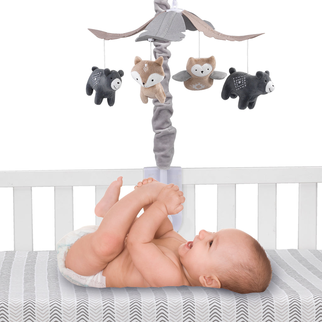 Lambs /& Ivy Baby Jungle Animals Gray//Tan Musical Crib Mobile Soother Toy