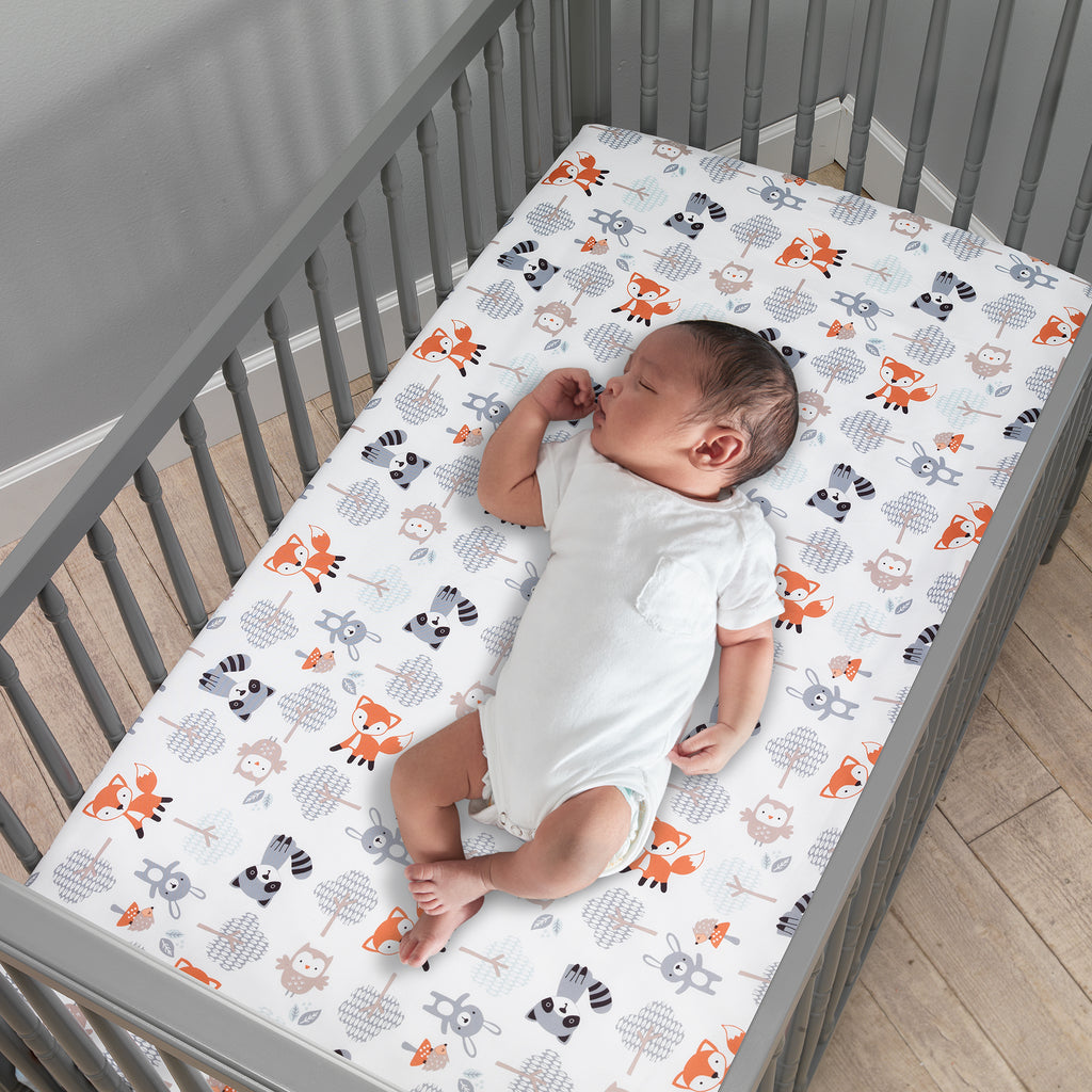 Woodland Friends Fox Owl Raccoon Fitted Crib Sheet White