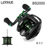LINNHUE Best Baitcasting Reel BS2000 8.1:1High Speed Fishing Reel 8KG Max Drag Reinforced Reel Drag Reel Carp Drag Reel Fishing