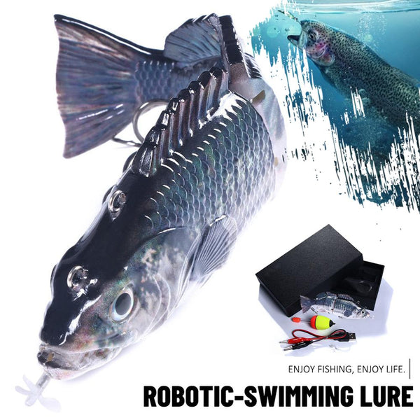 Robotic Swimming Lures Fishing Auto Electric Lure Bait Wobblers For 4-Segement Swimbait USB Rechargeable Flashing LED light