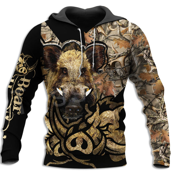 Boar Hunter Animal Hunting Camo Tattoo 3DPrint Pullover