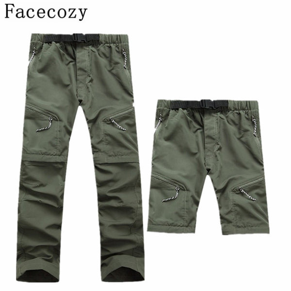 Men Quick Dry Outdoor Pants Removable Hiking&Camping Pants Male Summer Breathable Fishing Climbing Trousers for Trekking Shorts