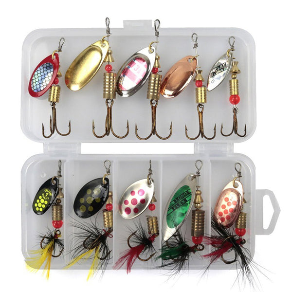 10pcs/Set Fishing Spoon Lures Spinner Bait 2.5-4g Fishing Wobbler Metal Baits Spinner Bait Isca Artificial Free With Box Hot