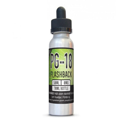 X2O  PG-18 Flashback has a bananas and caramel flavor with an exhale of pistachios.