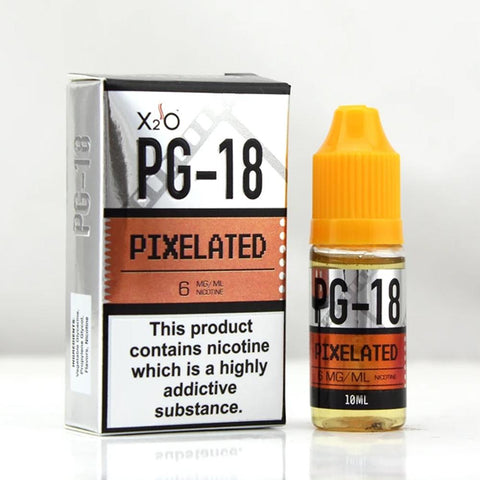 X2O  PG-18 Pixelated with nicotine has a peach and apricot sweet tea flavor, all you need now is a hammock (hammock not included)