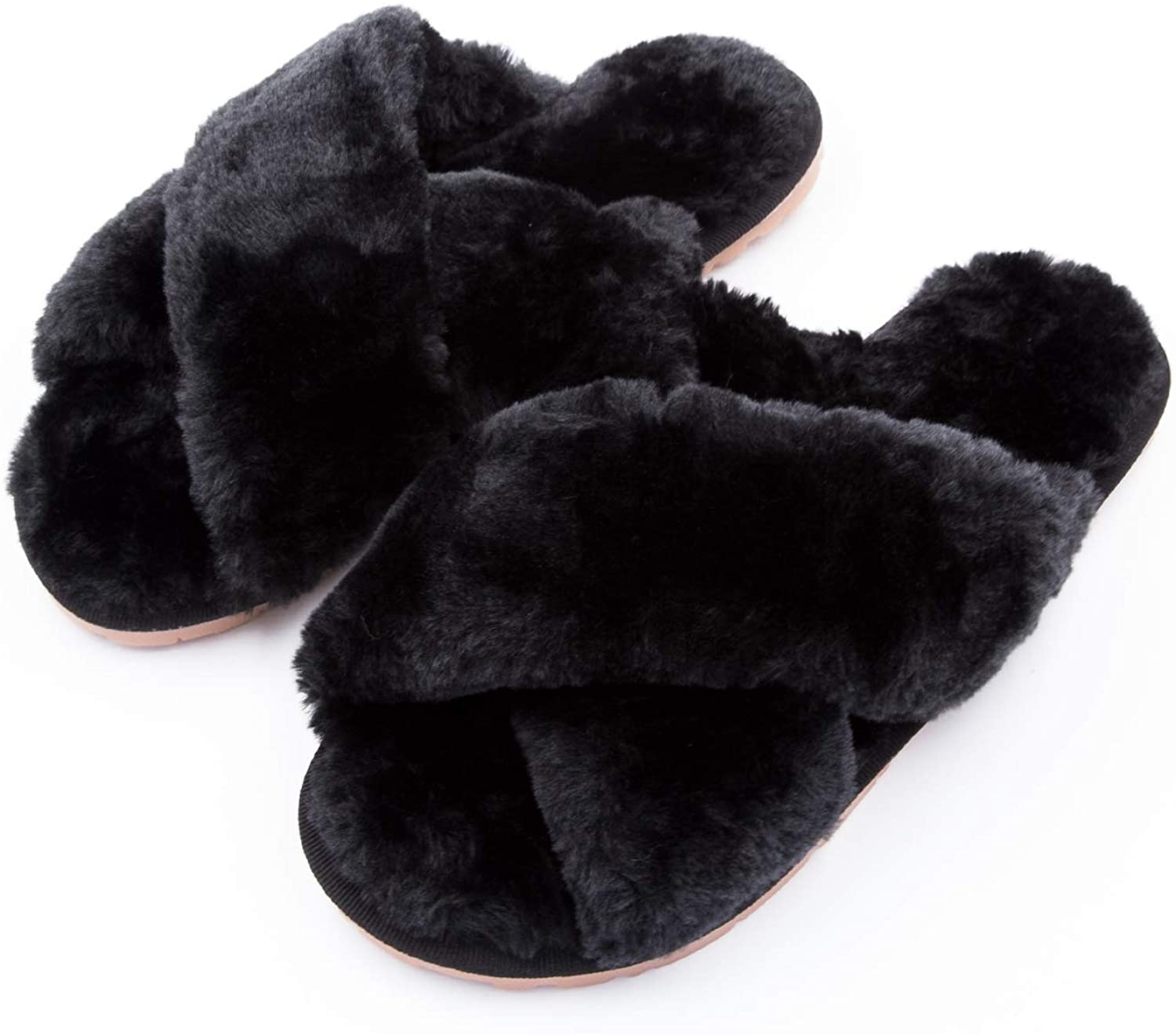 Womens Fuzzy Slippers(Black)Ehoomely