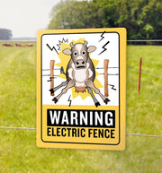 ELECTRIC FENCE WARNING SIGN for Kids | 9 x 12 Aluminum Sign [Waterproof]