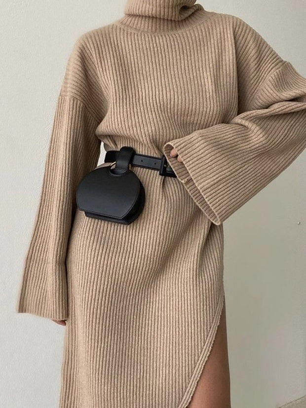 Women's Fashion Casual Solid Color Flared Sleeve Turtleneck Sweater Dress