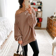 Women'S Fashion Round Neck Bottoming Shirt Long Sleeve Sweater