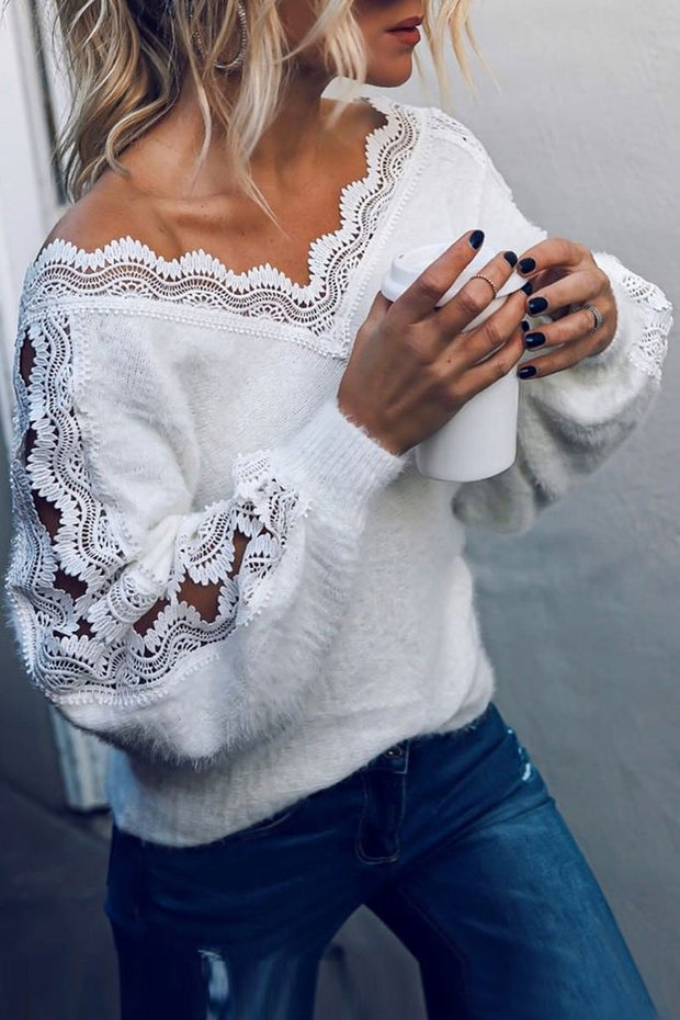 Women'S Deep V-Neck Stitching Lace Loose Sexy Sweater