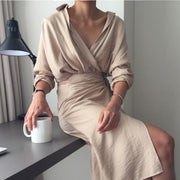 Women'S Irregular Bag Hip Strap Solid Color V-Neck Long Sleeve Dress