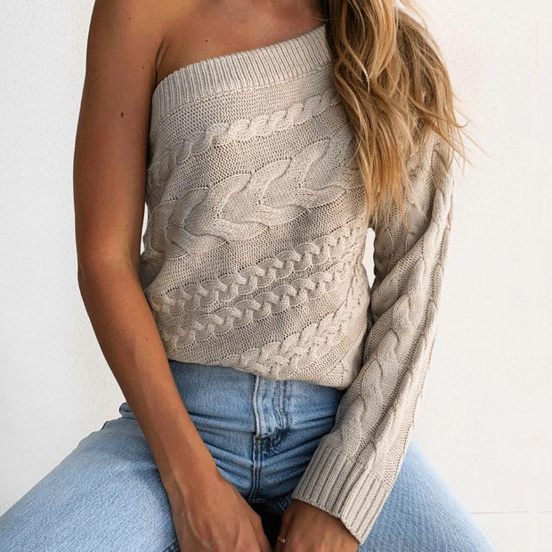 Women'S Sexy And Thin Twist Single-Sleeve Oblique Shoulder Long-Sleeved Knitted Top Sweater