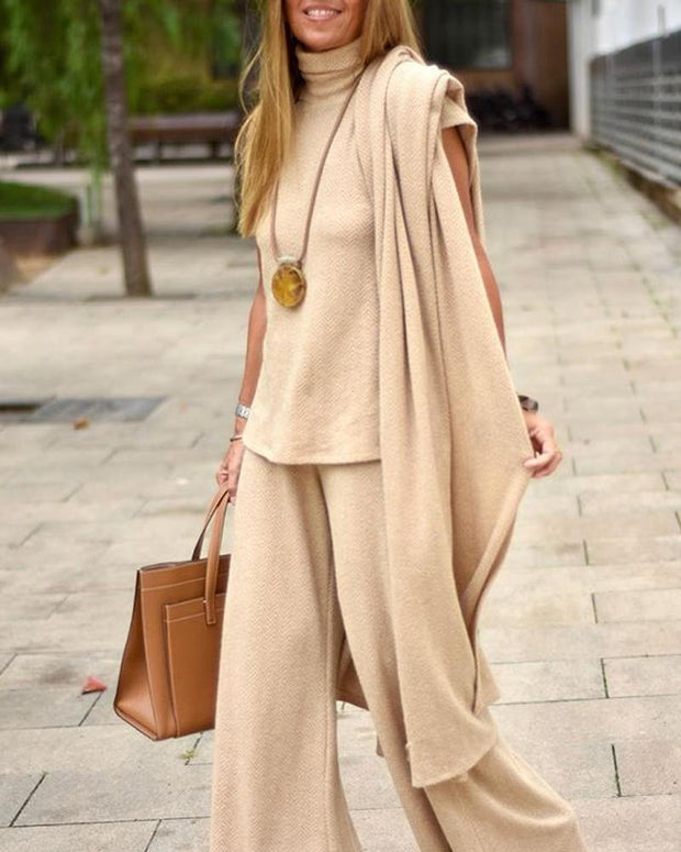 England Beige Herringbone Sweater Three-Piece Suit