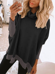 Women'S Casual Stitching Contrast Base Shirt Pile Collar Sweater