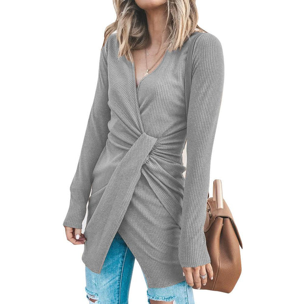 Women'S V-Neck Cross Irregular Pit Strip Long Sleeve Dress
