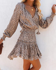 Women'S Halloween  Cheetah Ruffles Long Sleeve Dress