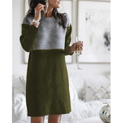 Women'S Stitching Loose Plus Size Long Sleeve Midi Dress