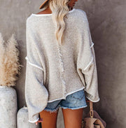 Women'S Solid Color Stitching Long-Sleeved Sweater