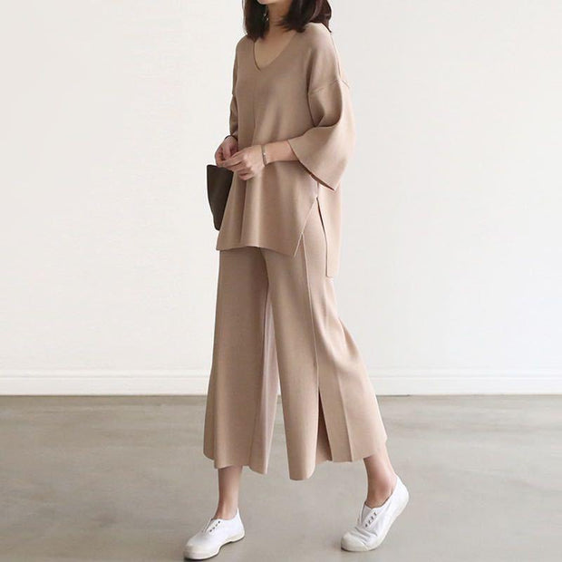 Women'S Fashion V-Neck Blouse + Split Wide-Leg Pants Fashion Two-Piece Suit
