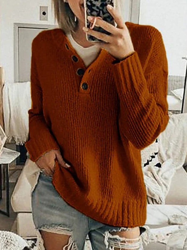 Women'S Fashion Pure Color Simple Long-Sleeved Sweater Fashion Button Sweater