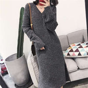 Women'S Fashion Over-The-Knee Base Sweater Midi Dress