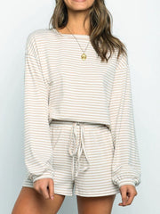 Women'S  Long-Sleeved Loose Striped Casual Two-Piece Suit